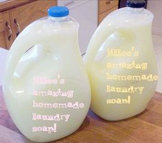 homemade laundry detergent - makes 3 x 2 litres (use empty plastic milk containers) and LABEL them.