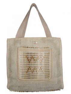 Bolsa artesanal de Juta com Taboa, com bolso interno e externo, tamanho pequeno.