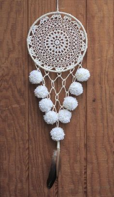 Crochet Patterns Neutral 8 white & neutral tone, crocheted, lace dreamcatcher made with unbleached, hand-… Dream Catcher Art, Large Dream Catcher, Crochet Mandela, Dream Catcher Tutorial, Pastel Home Decor, Pom Pom Wreath, Boho Diy, Dreamcatchers, Handmade Crafts