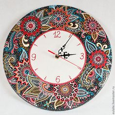 puntillismo, point to point, dot art Mandala Painting, Dot Painting, Mandala Art, Stone Painting, Painting Frames, Mandala Stencils, Henna Doodle, Clock Craft, Arte Country