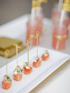 #NewYears recipes:  Simple, fresh watermelon and feta appetizers flavored with red wine vinegar and mint pair perfectly with bubbly champagne>> http://www.hgtv.com/entertaining/feta-mint-and-watermelon-bites-recipe/index.html?soc=pinterest