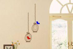 Bird Cage Vinyl Wall Decal size SMALL Bird by AbbysVinylWallArt, $8.95
