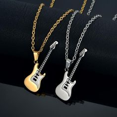 Enamel Guitar Necklace & Pendant For Women / Men Hip Hop pendentif Jewelry Gold Color Stainless Steel Rock Musical Necklaces Guitar Pick Jewelry, Music Jewelry, Cute Jewelry, Gold Jewelry, Gold Pendant Necklace, Pendant Jewelry, Gold Pendants For Men, Music Necklace, Gold Chains For Men