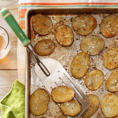 Oven Parmesan Chips Recipe -My husband and I avoid fried foods, but potatoes are part of our menu almost every day. These delectable sliced potatoes get nice and crispy and give our meals a likable lift.            — Mary Lou Kelly, Scottdale, Pennsylvania