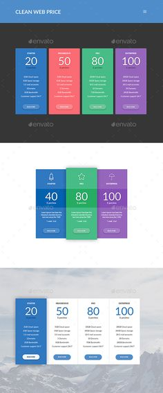 Price Table Template, Pricing table and Presentation templates - price chart template