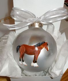 Clydesdale Horse Hand Painted Christmas Ornament - Can Be Personalized with Name. $20.00, via Etsy.