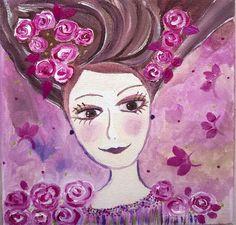 Aurore et les roses de Nathalie RAGOUST en vente sur Alittlemarket. Dans ma série les naïfs romantiques-peinture acrylique- Petite fille romantique aimant les roses... sur un fond poétique, rose violine, parme, quelques pointes de vert métalisé. Création personnelle, ne pas reproduire SVP. Tableau 20 x 20.