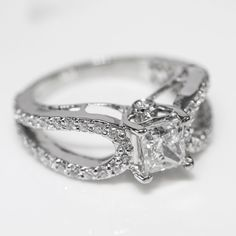 2.00 Cttw Princess Round Cut Diamonds Solitaire Engagement Ring 14K White Gold #SolitairewithAccents