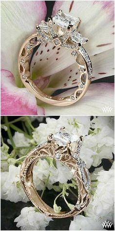 Engagement Rings : vintage style diamond engagement ring with princess cut diamond #Rings #princesscutengagementring #princessengagementrings