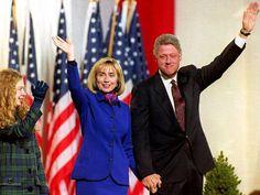 Workwear: Hillary Clinton celebrating husband Bill's win, 1992