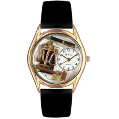 Lawyer Black Leather And Goldtone Watch - http://www.artistic-watches.com/2012/11/03/lawyer-black-leather-and-goldtone-watch/