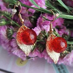 women concept - summer large metallic ✨gold tone✨ leaf earrings with rose red glass beads is available at Department Golden Pineapple Please PM/emails us for further info Leaf Earrings, Crochet Earrings, Diy Workshop, Party Looks, Red Glass, Holiday Travel, Metallic Gold, Red Roses, Glass Beads
