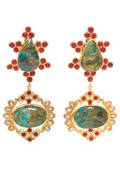 Zoe Earrings in Turquoise & Gold