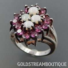 Stunning Sterling Silver Genuine Opal & Pink Topaz Cluster Cocktail Ri – Gold Stream Boutique
