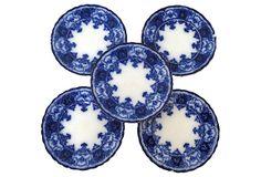 Antique Flow Blue Bread Plates, S/5 on OneKingsLane.com