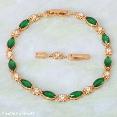 Find More Charm Bracelets Information about New 2015 Permanent Light ! Green Emerald Bracelet 18K Yellow Gold  Flower Styles Bracelet  fashion jewelry B361,High Quality jewelry tv,China jewelry making safety pins Suppliers, Cheap jewelry belly button rings from Dana Jewelry Co., Ltd. on Aliexpress.com