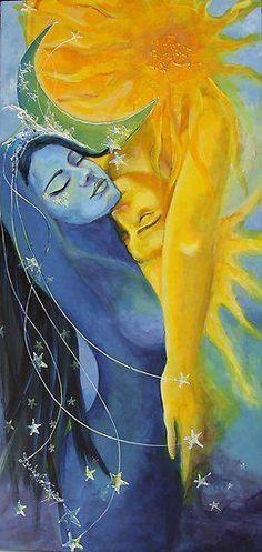 """Sun + Moon (Art: """"Lovers"""" by Dorina Costras) Sun Moon Stars, My Sun And Stars, Art Amour, Psy Art, Moon Art, Moon Moon, Dark Moon, Fantasy Art, Art Photography"""