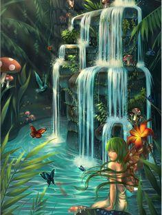 Paradise by Qinni on DeviantArt Fantasy Landscape, Landscape Art, Landscape Paintings, Fantasy Art, Ocean Wallpaper, Wallpaper Backgrounds, Elfen Tattoo, Waterfall Tattoo, Moonlight Photography