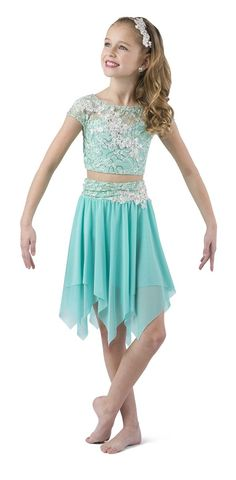 Mint sequin lace over mint spandex crop with elastic midriff. Separate hi-rise spandex brief with attached mesh skirt with handkerchief hem. Dance Costumes Lyrical, Mesh Skirt, Headpiece, Sequins, Mint, Lace, Skirts, Gallery, Dresses