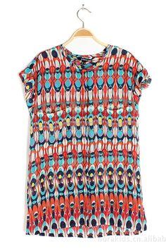 Red Chiffon T-shirt in Geometrical Print