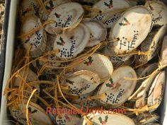 """Sliced Log Ornaments and Tags More """"using what I have"""" projects. I sliced a log using our miter saw to make this jolly snowman ornament. You know me, I couldn't stop at making jus…"""