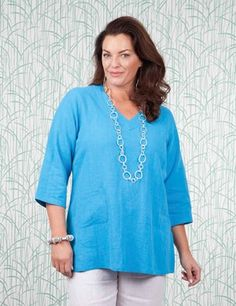 Plus size Towthorpe sea blue top