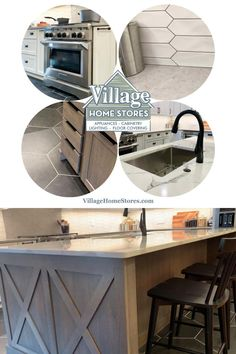 This kitchen design from #villagehomestores features painted White cabinetry and a stained Silverwood Rift Oak island from our Koch line. Kitchen Aid Appliances, White Kitchen Cabinets, Oak Island, Geometric Tiles, Beach House Decor, Home Decor, At Home Store, Modern Kitchen Design, Bathroom Inspiration