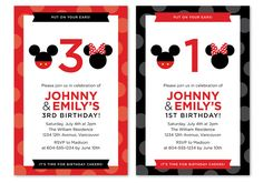 Mickey Minnie Mouse Birthday Invitation Custom DIY Printable