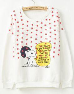 Sudadera Snoopy Estrellas manga larga-Blanco pictures