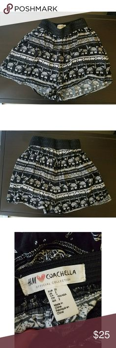 Coachella Black Elephant Shorts These super cute shorts are great for summer and festival season! Like-new and have never been worn. Open to offers!! :) H&M Shorts