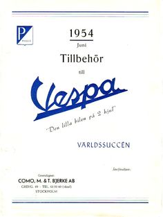 Old Vespa accessory catalouge for the Swedish market.  WWW.EHRMOTOR.SE