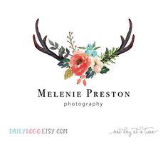 Premade logo design Photography Logo Rustic Logo Antler watercolor flower logo antler logo