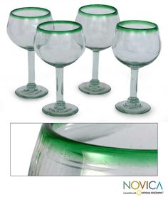 Set of 4 Blown Glass 'Lime Globe' Wine Glasses (Mexico) - Overstock Shopping - Great Deals on Novica Glassware