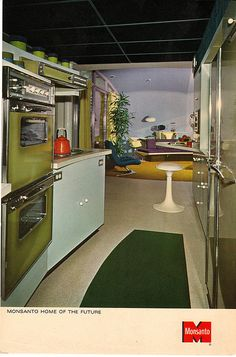 Post Card of interior of Disneyland's Monsanto House of the Future, showing updated interior Mid 1960s