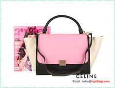 cbfe0f1880 Celine Trapeze Bag Calfskin Leather 88037 Pink Black OffWhite