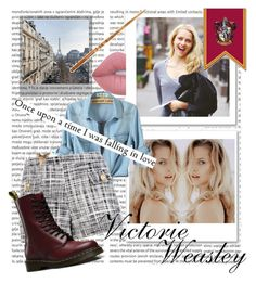 """""""Victorie Weasley"""" by bia-jackson on Polyvore featuring Oris, Polaroid, Lime Crime, Boutique Moschino, Dr. Martens, weasley, amberheard, victorieweasley, Victorie and Delancour"""