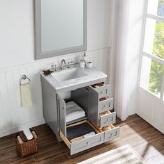 Shop Eviva Eviva Acclaim C. Transitional Grey Bathroom Vanity with White Carrera Marble Counter-top - Overstock - 10609864 Small Bathroom Vanities, Bathroom Renos, Single Bathroom Vanity, Bathroom Interior, Master Bathrooms, Very Small Bathroom, Small Grey Bathrooms, Bathroom Remodel Small, Small Bathroom Layout