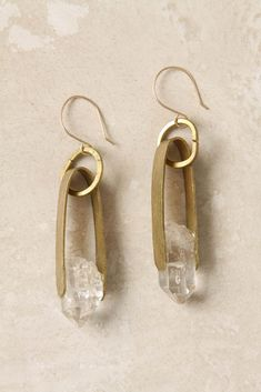 anthropologie's cinched quartz drops . Lovely, aren't they? $128 for brass and quartz, with a gold-filled earwire. Do you see what I see? Lo...