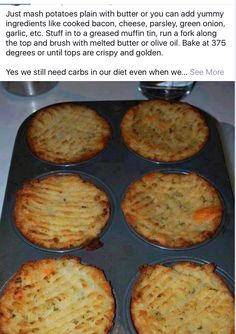 Mash potato baked in muffin tins - Easter muffin vegan muffin recipe muffin Potato Muffins Recipe, Vegan Muffins, Baked Mashed Potatoes, Roasted Potatoes, Potato Cakes, Potato Puffs, Vegetable Recipes, Cooking Vegetables, Potato Dishes