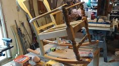 We rebuilt this 1800s rocker from a solid poplar..... you guessed it, a door. ... old doors have various uses