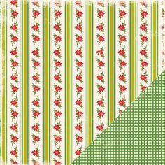 Making Memories - Twinkle - Poinsettia Stripe 12x12 Scrapbook Paper 1 Sheet. Sale ends 7/16/12!