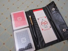 UNUSED Vtg 1950s Bridge Playing Card Set Travel Vinyl Carrying Case Pouch #Unbranded