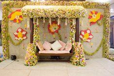 Flower Pelli decor by Champs Fleur in Hyderabad Wedding Backdrop Design, Wedding Hall Decorations, Marriage Decoration, Flower Decorations, Flower Garlands, Baby Shower Deco, Baby Showers, Mehndi Decor, Wedding Mandap