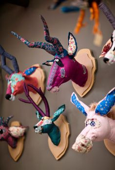 love these patchwork animal heads.