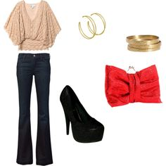 A fun night out look ... Jeans, heels, lace top, and a red bag to add a pop of color.