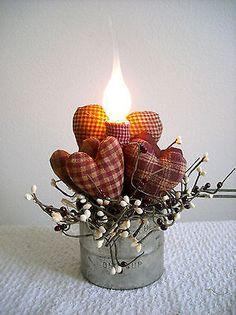 Valentine Primitive Homespun Hearts in Small Flour Sifter Lamp | eBay