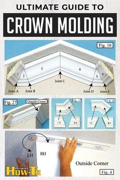 The comprehensive DIY guide to cutting and installing crown molding & trim installation from the construction and home improvement experts. Woodworking Projects Diy, Diy Wood Projects, Home Projects, Woodworking Techniques, Cut Crown Molding, Diy Molding, Home Renovation, Home Remodeling, Diy Crown