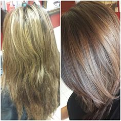 From blonde to dimensional brunette using #joico #verokpak #verochrome #color