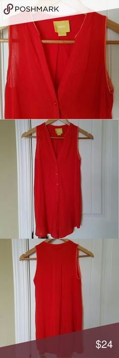 Anthropologie Maeve Sleeveless Top Red and orange detailed Maeve sleeveless button up top with V-neck. Size 0. Very flattering fit. Excellent condition.  Bundle and save 15%! Anthropologie Tops