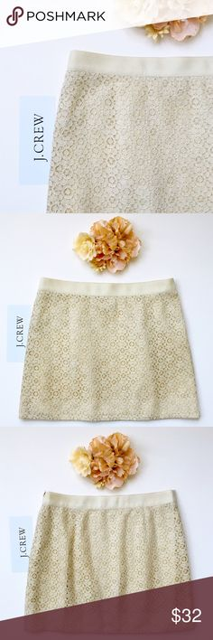 """J Crew Cotton Blend Vintage Style Lace Mini Skirt J. Crew. Size 2. Color: Antique Cream. Waist: 15"""" across measured flat. Hips: 19"""" across measured flat. Length: 15"""" from top of waistband to hem line. Lace: 74% cotton 26% nylon. Lining: 100% cotton. Grosgrain ribbon waistband: 1.5"""". 5.5 inch zipper at side. This item is used and in good to very good condition.❤️ J. Crew Skirts"""